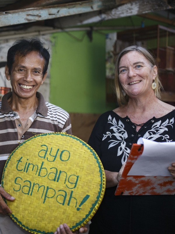Nurisman (left) with Australian volunteer Bridget during the Weigh the Rubbish campaign to better manage household waste Yogyakarta Indonesia