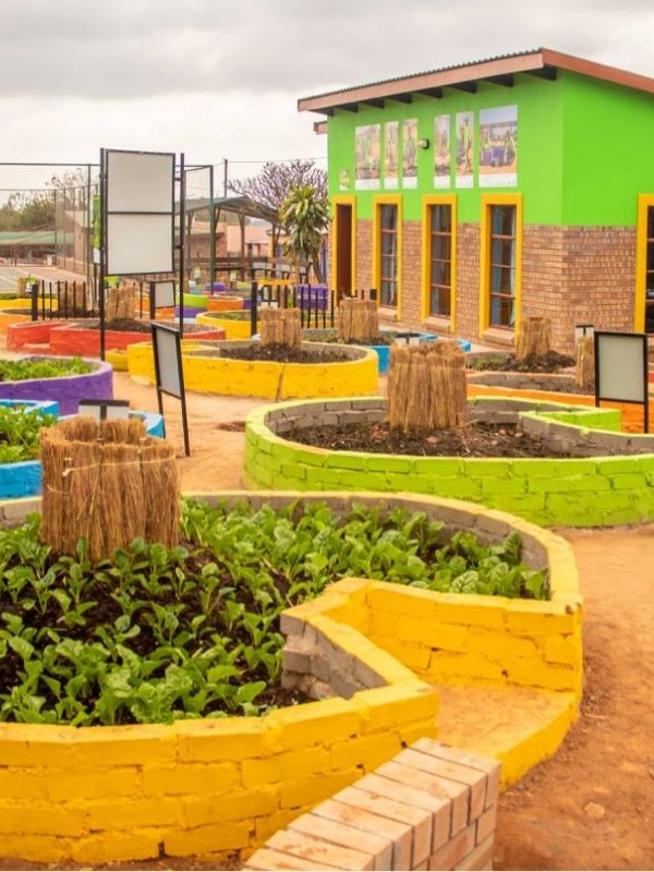 The keyhole gardens built by Australian volunteers and the local community at Mapalane Primary School in 2018