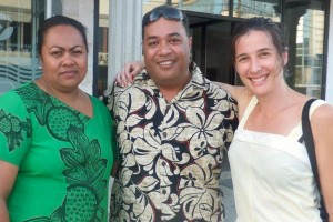 Madeleine on assignment in Tonga with her supervisor Mandie Finau and counterpart Petuliki Mila